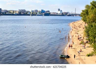 KYIV, UKRAINE - AUGUST 20, 2016 : beach on Trukhaniv Island on Dnipro river in the center of Kiev, Ukraine.