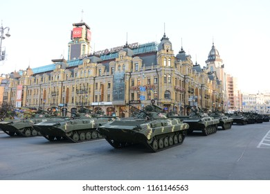 KYIV, UKRAINE - AUGUST 20, 2018: - Military armored vehicles of Ukrainian army take part in a parade rehearsal in the centre of Kiev, ahead of Ukraine's Independence Day celebrations on August 24.