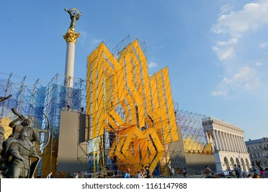 KYIV, UKRAINE - AUGUST 20, 2018: - Ukrainian army take part in a parade rehearsal in the centre of Kiev, ahead of Ukraine's Independence Day celebrations on August 24.