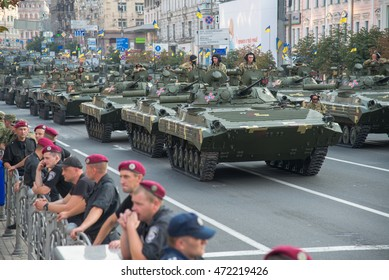 KYIV, UKRAINE - August 22, 2016. The rehearsal of the military parade to the day of independence of Ukraine. Military equipment is moved around the city. Ukrainian army.