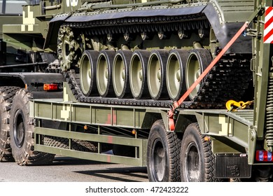 KYIV, UKRAINE - AUGUST 22, 2016 : Close-up of part of military equipment of Armed Forces of Ukraine moving on streets of the Kyiv during a military parade rehearsal.