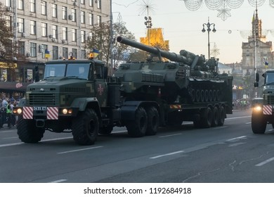 KYIV, UKRAINE - AUGUST 22, 2018: Military equipment and weapons at the evening rehearsal of the parade in honor of Independence Day