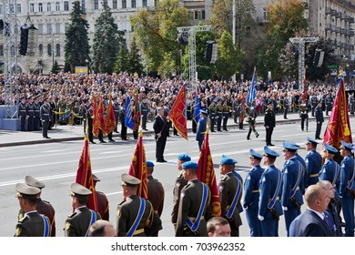 KYIV, UKRAINE - AUGUST 24, 2017: Army troops on the march on the occasion of Independence day of Ukraine.  Ukrainians mark the 26th anniversary of Ukraine's independence from the Soviet Union in 1991.