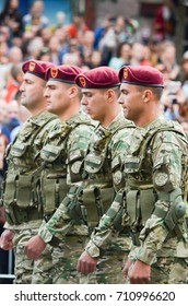 KYIV, UKRAINE - AUGUST 24, 2017: Servicemen of foreign states on the march on the occasion of Independence day of Ukraine. Ukrainians mark the 26th anniversary of Ukraine's independence.