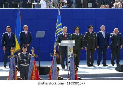 KYIV, UKRAINE - AUGUST 24, 2018: President of Ukraine Petro Poroshenko delivers a speech during the military parade in Kyiv, dedicated to the 27th Independence Day of Ukraine