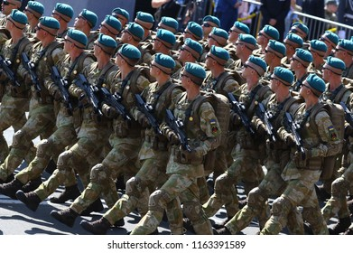 KYIV, UKRAINE - AUGUST 24, 2018: Ukrainian army soldiers take part at the military parade in Kyiv, dedicated to the Independence Day of Ukraine. Ukraine celebrates 27th anniversary of Independence
