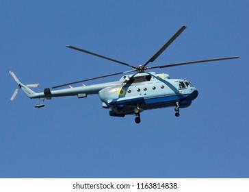 KYIV, UKRAINE - AUGUST 24 2018: Independence Day of Ukraine, aviation parade, Mil Mi-14