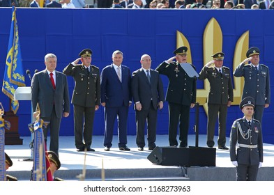 KYIV, UKRAINE - AUGUST 24, 2018: President of Ukraine Petro Poroshenko (L), Generals of the army and guests of the military parade in Kyiv, dedicated to the Independence Day of Ukraine