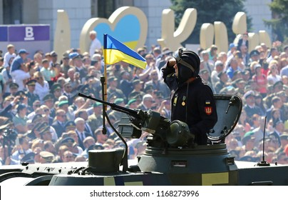KYIV, UKRAINE - AUGUST 24, 2018: Ukrainian soldier on the self-propelled howitzer drives on Khreschatyk street in Kyiv during the military parade, dedicated to the 27th Independence Day of Ukraine
