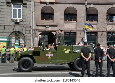 KYIV, UKRAINE - AUGUST 24 2018: Minister of Defence Stepan Poltorak begin the military parade at the Independence Day in the Ukrainian capital Kyiv. KYIV, UKRAINE - AUGUST 24 2018.