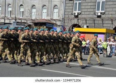 KYIV, UKRAINE - AUGUST 24 2018: Armed forces of naval infantry parade through the Ukrainian capital Kyiv during a celebration of Independence Day. KYIV, UKRAINE - AUGUST 24 2018.
