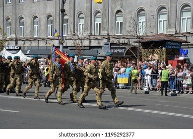 Kyiv, Ukraine - August 24 2018: Armed forces of naval infantry parade through the Ukrainian capital Kyiv during a celebration of Independence Day.