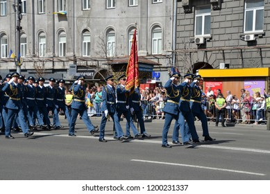 KYIV, UKRAINE - AUGUST 24 2018: Cadets of air force parade through the Ukrainian capital Kyiv during a celebration of Independence Day. KYIV, UKRAINE - AUGUST 24 2018.
