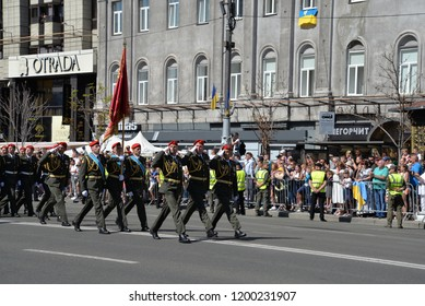 KYIV, UKRAINE - AUGUST 24 2018: Military parade march in the central street at the Independence Day in the Ukrainian capital Kyiv. KYIV, UKRAINE - AUGUST 24 2018.