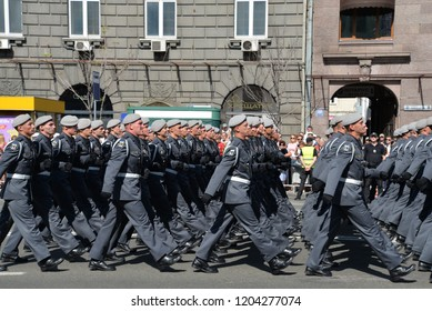 KYIV, UKRAINE - AUGUST 24 2018: Troops of the Special Forces parade through the Ukrainian capital during a celebration of the country's Independence Day. KYIV, UKRAINE - AUGUST 24 2018.