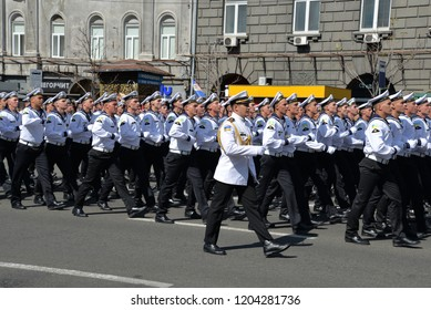 KYIV, UKRAINE - AUGUST 24 2018: Cadets of the naval academy parade through the Ukrainian capital during a celebration of the country's Independence Day. KYIV, UKRAINE - AUGUST 24 2018.