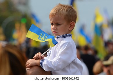 KYIV, UKRAINE - AUGUST 24, 2020: Ukrainian veterans and activists take part in the March of Defenders of Ukraine as part of Ukraine's Independence Day celebrations
