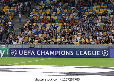 KYIV, UKRAINE - AUGUST 28, 2018: UEFA Champions League billboard seen at the NSC Olimpiyskyi stadium in Kyiv during the UEFA Champions League play-off game FC Dynamo Kyiv v AFC Ajax