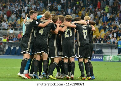 KYIV, UKRAINE - AUGUST 28, 2018: AFC Ajax players celebrate the reach of group stage after the UEFA Champions League play-off game against FC Dynamo Kyiv at NSC Olimpiyskyi stadium in Kyiv, Ukraine