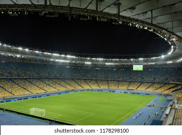 KYIV, UKRAINE - AUGUST 28, 2018: Panoramic view of the pitch of NSC Olimpiyskyi stadium in Kyiv during the UEFA Champions League play-off game against FC Dynamo Kyiv at NSC Olimpiyskyi stadium