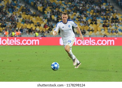 KYIV, UKRAINE - AUGUST 28, 2018: TomaszKEDZIORA of FC Dynamo Kyiv in action during the UEFA Champions League play-off game against AFC Ajax at NSC Olimpiyskyi stadium in Kyiv, Ukraine