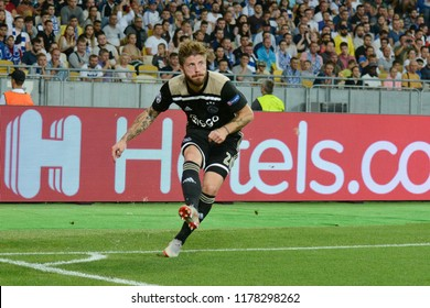 KYIV, UKRAINE - AUGUST 28, 2018: Lasse Schone of AFC Ajax in action during the UEFA Champions League play-off game against FC Dynamo Kyiv at NSC Olimpiyskyi stadium in Kyiv, Ukraine