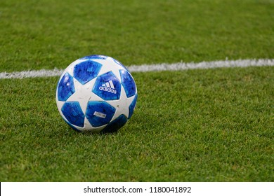 KYIV, UKRAINE - AUGUST 28, 2018: Official ball of the UEFA League Champion at the Olympic stadium