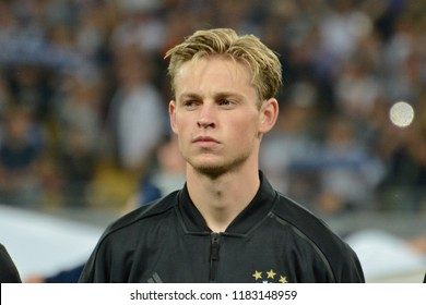 KYIV, UKRAINE - AUGUST 28, 2018: Frenkie de Jong of AFC Ajax in close-up during the UEFA Champions League play-off game against FC Dynamo Kyiv at NSC Olimpiyskyi stadium in Kyiv, Ukraine