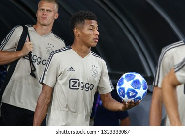 KYIV, UKRAINE - AUGUST 28, 2018: David Neres of AFC Ajax goes to the pitch of NSC Olimpiyskyi stadium at training session before the UEFA Champions League play-off game against FC Dynamo Kyiv