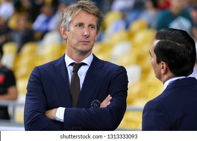 KYIV, UKRAINE - AUGUST 28, 2018: AFC Ajax CEO Edwin van der Sar looks on during the UEFA Champions League play-off game against FC Dynamo Kyiv at NSC Olimpiyskyi stadium in Kyiv, Ukraine