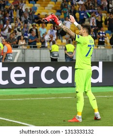 KYIV, UKRAINE - AUGUST 28, 2018: FC Dynamo Kyiv goalkeeper Denys Boyko thanks to fans after the UEFA Champions League play-off game against AFC Ajax at NSC Olimpiyskyi stadium in Kyiv, Ukraine