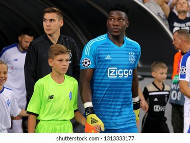 KYIV, UKRAINE - AUGUST 28, 2018: Goalkeeper Andre Onana of AFC Ajax goes to the pitch before the UEFA Champions League play-off game against FC Dynamo Kyiv at NSC Olimpiyskyi stadium