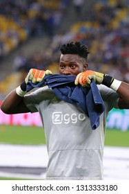 KYIV, UKRAINE - AUGUST 28, 2018: Goalkeeper Andre Onana of AFC Ajax in action during training session before the UEFA Champions League play-off game against FC Dynamo Kyiv at NSC Olimpiyskyi stadium