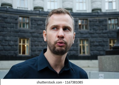 KYIV, UKRAINE - AUGUST 29, 2018: Ihor Kotelyanets, a blood brother of Eugene Panov, Ukrainian political prisoner, whom Russia continues to hold hostage and accuses of organizing subversions in Crimea