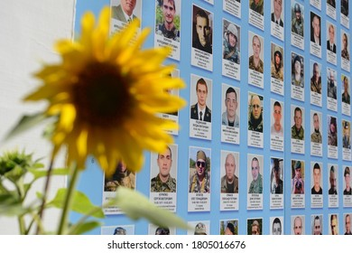 KYIV, UKRAINE - AUGUST 29, 2020: A memorial wall for soldiers killed in the recent conflict in Eastern Ukraine  of the Battle of Ilovaisk