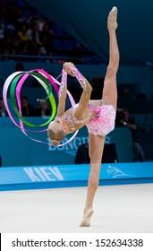 KYIV, UKRAINE - AUGUST 29: Yana Kudryavtseva of Russia performs during 32nd Rhythmic Gymnastics World Championship on August 29, 2013 in Kyiv, Ukraine