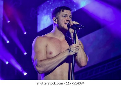 KYIV, UKRAINE - AUGUST 31, 2018: Dan Reynolds of Imagine Dragons performs in concert at Olympic NSC on August 31, 2018, in Kiev
