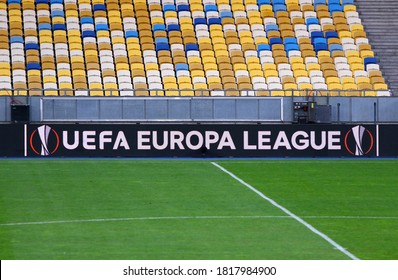 KYIV, UKRAINE - AUGUST 5, 2020: UEFA Europa League banner on a screenboard of NSC Olimpiyskyi stadium in Kyiv during the UEFA Europa League Round of 16 game Shakhtar Donetsk v VfL Wolfsburg