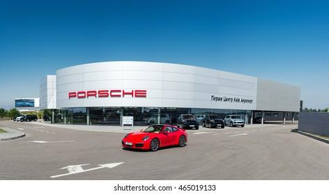 Kyiv, Ukraine - August 7th, 2016: Red Porsche 911 in show room