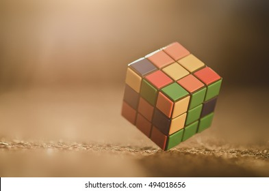 Kyiv, Ukraine - August 7th, 2016: Rubik's cube on the colored background, Rubik's cube invented by a Hungarian architect Erno Rubik in 1974.
