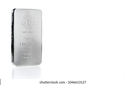 Kyiv, Ukraine - circa, 2018: minted silver bar weighing 250 grams produced at the Swiss factory Argor-Heraeus - is one of the world's largest processors of precious metals. Isolated on the white