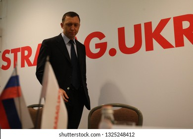 KYIV, UKRAINE - DEC 05, 2007: Russian oligarch Oleg Deripaska at during a press conference on the occasion of signing an agreement between industrial group Basic Element, STRABAG Ukraine, DCH in Kyiv