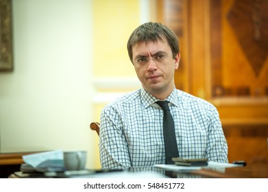 KYIV, UKRAINE - DEC 27, 2016: Ukraine's Infrastructure Minister Vladimir Omelyan. member of the Government. Meeting about Ukrainian Railways and State Postal Service, electric transport and roads