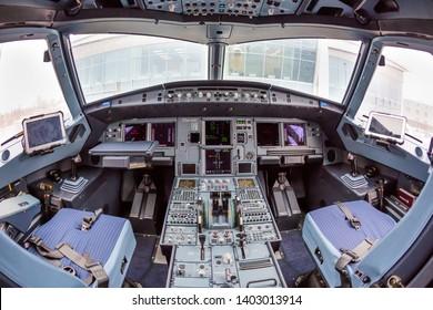 Kyiv, Ukraine - DECEMBER 06, 2016: Airbus A320 NEO cockpit. Modern aircraft. Airplane cockpit. Aircraft interior.