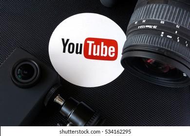 KYIV, UKRAINE - December 07, 2016: Youtube logo on a box and  cameras. Video blog concept.