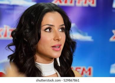 "KYIV, UKRAINE: DECEMBER 1, 2016: Ukrainian singer, participant of Eurovision 2013 from Ukraine Zlata Ognevichl during EURO HIT concert in the palace ""Ukriana"""