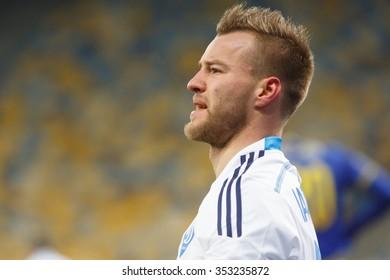 KYIV, UKRAINE - DECEMBER 10, 2015: Football Champions League game. Dynamo Kyiv against Maccabi Tel Aviv. Andriy Yarmolenko.
