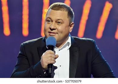 "KYIV, UKRAINE - DECEMBER 11, 2016: Actor Alexander Pikalov during the shooting of the program ""Evening Kiev"""