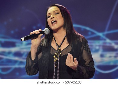 "KYIV, UKRAINE - DECEMBER 11, 2016: The singer Sofia Rotaru during the shooting of the program ""Evening Kiev"""