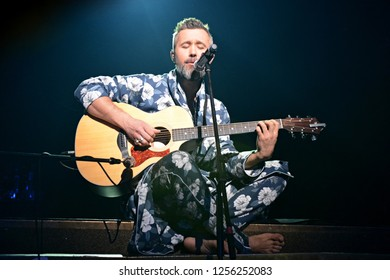 KYIV, UKRAINE - DECEMBER 11, 2018: Former member of the rock band 5'nizza. Ukrainian singer Sergei Babkin performing in Kiev